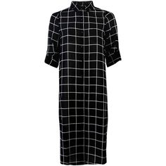 Influence Fashion Black and White Grid Print Sheer Longline Shirt... ($39) ❤ liked on Polyvore featuring dresses, black, sheer shirt dress, shirt dress, long black shirt dress, shirt-dress and black white dress