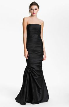 ML Monique Lhuillier Bridesmaids Strapless Ruched Faille Mermaid Gown (Nordstrom Exclusive) available at #Nordstrom