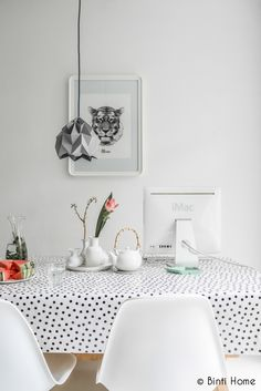 Dotty table cloth and tiger wall art.