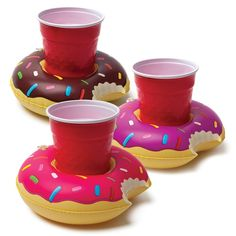 Inflatable floating Donut Cup Holders by BigMouth Inc. Inflatable Pool Party Drink Floats - Donuts 3 Pack!: Toys & Games
