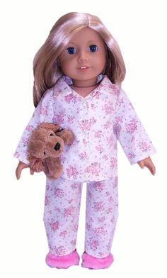 18 Inch American Girl Doll Clothes Patterns Winter Pyjamas | Rosies Doll Clothes Patterns