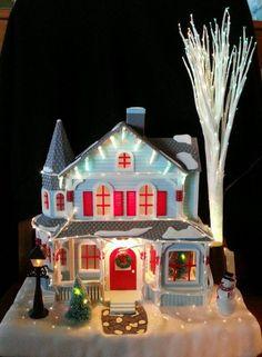 Avon 2001 Holiday Splendor Lighted Fiber Optic House Village Snow Tree W Box Nib