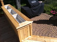 Cedar planter box, built from tongue and groove trim and deck board top cap. The planter boxes are removable for watering and planting. Deck Planter Boxes, Deck Planters, Cedar Planter Box, Fire Pit Backyard, Backyard Patio, Backyard Ideas, Patio Ideas, Porches, Rustic Fire Pits