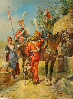 """NAP- France: Dutch Lancers in the French Imperial Guard (""""Red Lancers""""), by Maurice Henri Orange. [2e régiment de chevau-légers lanciers de la Garde Impériale]"""