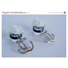 "SALE Dangle Plugs Gauges / 00g 1/2"" 9/16"" 5/8"" / Ear Gauges Plugs /... (325 ZAR) ❤ liked on Polyvore featuring jewelry, earrings, pearl jewelry, white earrings, nautical jewelry, rose earrings and pearl earrings"