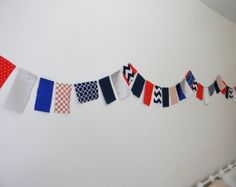 Mini Flag Bunting Banner  Red White Blue  by TheHumblePenguin, $6.00