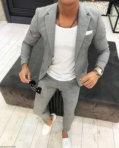 Men's Grey Vertical Striped Blazer, White Crew-neck T-shirt, Grey Vertical Striped Dress Pants, White Leather Tassel Loafers Blazer Outfits Men, Mens Fashion Blazer, Stylish Mens Outfits, Suit Fashion, Fashion Menswear, Fashion Hair, Fashion Rings, Men Blazer, Fashion Moda