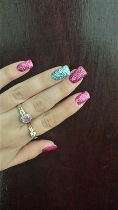 sns pink sparkles with sparkle green feature nail