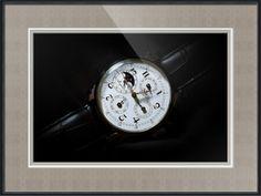 "Breguet Moonphase Triple Calendar Swiss Watch // Paper: enhanced matte; Glazing: acrylic; Moulding: black, black bevelwoods; Top Mat: black/gray, fiori grotto; Middle Mat: white/cream, canvas; Bottom Mat: black/gray, granite // Price starts at $165 (Petite: 17.5"" x 20.5""). // Customize at http://www.imagekind.com/Breguet-Moonphase-Triple-Calendar-Swiss-Timepiece_art?IMID=60cf7cc5-000e-433f-9585-738260b6974f"