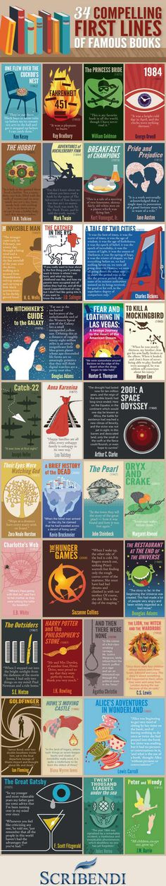 34 Compelling First Lines of Famous Books The first lines of a story set the mood and draw readers in. This infographic features first lines from some of the most famous books of all time. Books And Tea, I Love Books, My Books, Best Books Of All Time, Book Club Books, Great Books, Book Infographic, Infographics, Film X