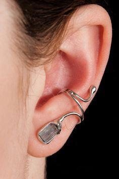 Silber Ohrringe - Ohrring ohne Ohrloch Silber 925 Aquamarin 1425 - ein Designerstück von Appelstyle bei DaWanda