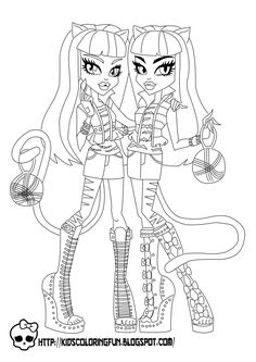 Baby Monster High Coloring Pages | Monster High Purrsephone and Meowlody