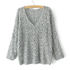 Simple Style V-Neck Solid Color Knited All-Match Long Sleeve Women's Sweater