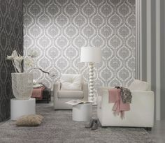 White silver baroque wallpaper