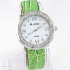 New Armitron Now Ladies Watch Green Croc Leather Band Rhinestone Bezel SuzePlace.com