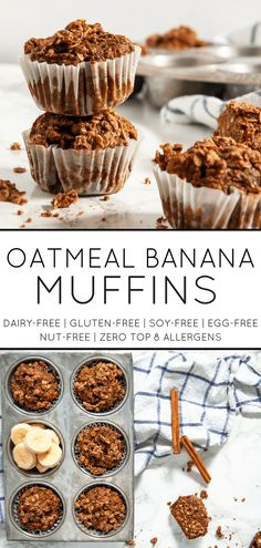 Wholesome oatmeal banana muffins are delicious and a perfect way to use up those brown bananas on your counter! Dairy Free Recipes, Baking Recipes, Real Food Recipes, Snack Recipes, Dessert Recipes, Oatmeal Recipes, Brunch Recipes, Banana Oatmeal Muffins, Gluten Free Muffins