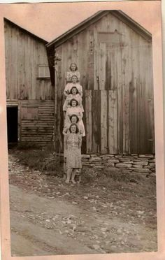 Vintage Antique Photograph Young Women Lined Up on Ladder By The Barn