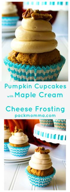 Pumpkin Cupcakes with Maple Cream Cheese Frosting | Super moist, super flavorful these Pumpkin Cupcakes with Maple Cream Cheese Frosting are decadent, indulgent perfection!… with pecans on top! | Pack Momma | www.packmomma.com