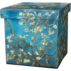 Oriental Furniture Van Gogh Almond Branch Footstool ($55) ❤ liked on Polyvore featuring home, furniture and ottomans