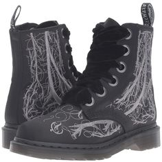 Dr. Martens 1460 Vena Boot - Blood Vessel Silver Embroidery (Black... ($155) ❤ liked on Polyvore featuring shoes, boots, goth platform boots, black slip resistant shoes, slip resistant boots, black lace-up boots and black boots