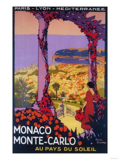 Monte Carlo, Monaco - Travel Promotional Poster Art Print at AllPosters.com