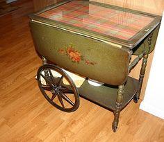 need to redo Tea Trolley, Tea Cart, Repurposed Furniture, Furniture Ideas, Serving Cart, Monogram Pillows, Victorian Furniture, Tea Accessories, Tea Sets