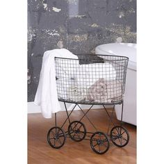 Olga's Metal Laundry Basket with Wheels