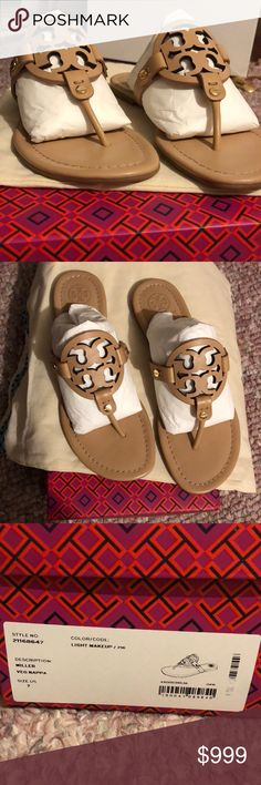 WANTING TO TRADE FOR BIGGER SIZE Tory Burch Miller Sandal. My bf got me these for Christmas and got he wrong size. Unfortunately he had already thrown the papers away so I couldn't return them for a different size. These have not been worn. I am ONLY looking to trade for a NEW PAIR SAME COLOR just a size 8. Tory Burch Shoes Sandals