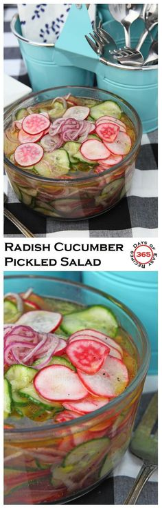 Radish cucumber pickled salad with a sweet vinaigrette, perfect for a summer potluck BBQ