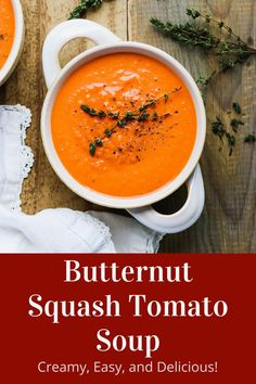 Butternut squash and tomato soup is creamy and delicious for an easy dinner. Perfect with grilled cheese or crusty bread! And this tomato soup recipe has a vegan option if you need it to be dairy-free. Don't miss this delicious butternut squash and tomato soup recipe! Dairy Free Tomato Soup, Tomato Soup Recipes, Chili Recipes, New Recipes, Salad Recipes, Healthy Soup, Healthy Eating, Pureed Soup, Easy Weeknight Dinners