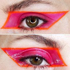 makeup inspiration so chic pink orange makeup eyeshadows glossy eyeshadow artsy makeup Kiss Makeup, Makeup Art, Beauty Makeup, Eye Makeup, Makeup Trends, Makeup Inspo, Makeup Inspiration, 1980s Makeup, Glossy Eyes