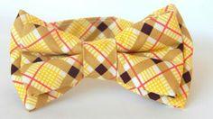Boy's yellow plaid double bowtie http://www.chocolatepuddinnoodlesoup.com