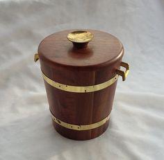 Mid Century Modern Walnut Wood Ice Bucket by TymelessTrinkets