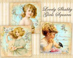 Vintage children Printable download Digital collage sheet 2x2 inch squares 1x1 inch squares Vintage images Decoupage images scrapbook