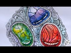 How to Draw Zentangle Inspired Art with Gems | Watercolor Gemstones with Cracks - YouTube