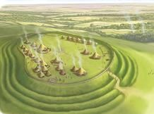 What is a hillfort? A hillfort is a hilltop fort built in Iron Age times and made of many circular banks and ditches. Medieval Houses, Medieval Life, Celtic Paganism, My Fantasy World, Fantasy Art, Celtic Art, Iron Age, Picts, Prehistory
