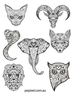FREE!!!  AWESOME DESIGNS of Animal Sugar Skulls, Day of the Dead, Halloween coloring in pages, sheets...  sugar skulls, sugar skull coloring in sheets free, Halloween sugar skulls, Halloween ideas, Halloween, free coloring in sheets, free coloring in, day of the dead, day of dead coloring in sheets free, coloring in sugar skull picture, coloring in pages, coloring in animals,