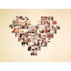 Heart photo collage! Simple way to decorate a bare wall. Maybe all black  white...