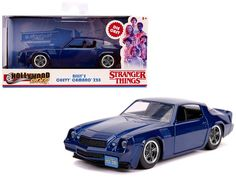 "Billy's Chevrolet Camaro Z28 Metallic Dark Blue ""Stranger Things"" (2016) TV Series ""Hollywood Rides"" 1/32 Diecast Model Car by Jada Chevy Camaro Z28, Rubber Tires, Diecast Model Cars, Jada, Stranger Things, Black Stripes, Tv Series, Dark Blue, Metallic"