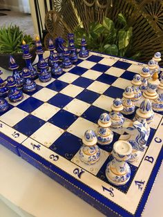 Your place to buy and sell all things handmade Glass Chess Set, Chess Sets, Chess Set Unique, Chinoiserie Chic, Chess Pieces, Blue Plates, Blue China, Rock Crafts, King Birthday