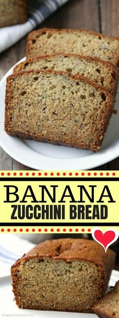 4 Points About Vintage And Standard Elizabethan Cooking Recipes! Banana Zucchini Bread, Or Zucchini Banana Bread, Is A Moist, Easy, Quick Bread Recipe That Combines Both Zucchini Bread And Banana Bread. Best Of Both Gluten Free Zucchini Banana Bread, Banana Zucchini Bread Healthy, Banana Bread Easy Moist, Zucchini Bread Recipes, Quick Bread Recipes, Banana Bread Recipes, Gourmet Recipes, Free Recipes, Zucchini Desserts