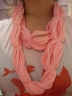 another variation on the t-shirt scarf -- this one with loops and ties. so cute!