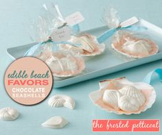 White Chocolate Seashells for Beach Themed Weddings and Parties from The Frosted Petticoat / as seen on www.BrendasWeddingBlog.com