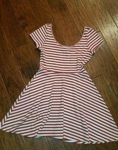 Red White Striped Dress Soprano Women's Costume Large L Cotton  | eBay