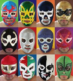 Masks by OsoBear Lucha Underground, Mexican Mask, Mexican Party, Mexican Wrestler, Motorcycle Face Mask, Masked Man, Professional Wrestling, Mexican Style, Mask Design
