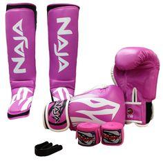 Kit Muay Thai Feminino Naja Xtreme: Luva + Bucal + Bandagem + Caneleira - Rosa