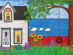 """Laundry Day, $1000, 4 feet x 3.5 feet, Acrylic on gallery stretched canvas with 1.5"""" sides. by Shelagh Duffett, If interested contact duffettfolkart@yahoo.ca"""