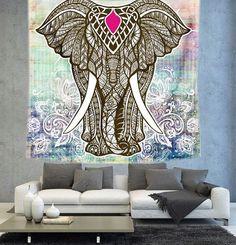 Elephant Tapestry Bohemian Elephant tapestry by Christinedecorshop