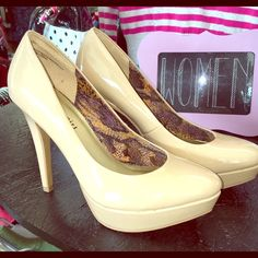 Size 8 Madden Girl Taupe Patent Platform Color: Taupe Style: Pumps Material: Faux leather Toe shape: Round Heel height/type: 4.5-inch tapered Platform height: 1 inch Lining: Solid-colored fabric Sole: Textured rubber Footbed: Slightly padded Madden Girl Shoes Heels