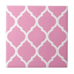 Pink Moroccan Quatrefoil Patterned Ceramic Tile